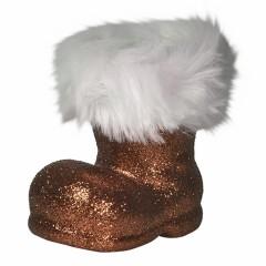 Julemandens støvle, 13 cm, choko glitter