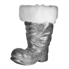 Julemandens støvle, 40 cm, sølv glitter