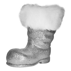 Julemandens støvle, 19 cm, sølv glitter