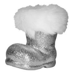 Julemandens støvle, 13 cm, sølv glitter