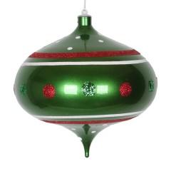 20 cm onion, grøn perlemor m/rødt-, hvidt- og grønt glitter