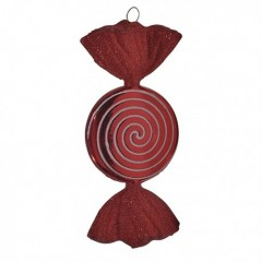 18 cm slik, rød med rødt glitter, flad, rund