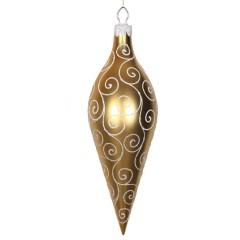 40 cm top, mat guld m/hvidt- og sølvglitter