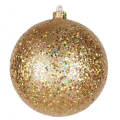 20 cm julekugle, guld, laserglitter