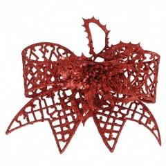 20 cm clip-on sløjfe, rødt glitter