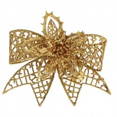 20 cm clip-on sløjfe, guld glitter