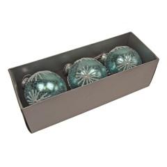 8 cm julekugler, 3 stk, turkis crackle m/hvidt glitter, glas