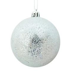 8 cm julekugle, frost, sølv