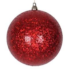 25 cm julekugle, laserglitter, rød