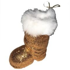 Julemandens støvle, 7 cm, kobber glitter