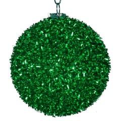 8 cm julekugle, grovglitter, grøn