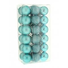 3 cm kugler, isblå, 36 stk i boks