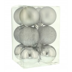 6 cm kugler, sølv, 12 stk i boks