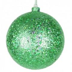 14 cm julekugle, laserglitter, grøn