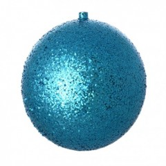 25 cm julekugle, laserglitter, turkis