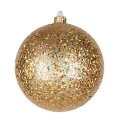 14 cm julekugle, guld, laserglitter