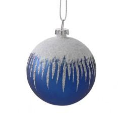 6 cm julekugle, mat, gentle blue m/sne, hvid og sølv glitter