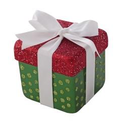 10x10 cm pakke, grøn perlemor m/rødt- og lime glitter