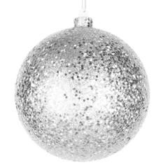 14 cm julekugle, laserglitter, sølv