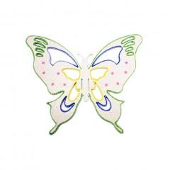 25x30 cm sommerfugle, hvid multi