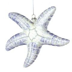 16,5 cm søstjerne, hvid og havblå glitter