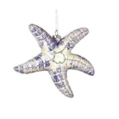 12,5 cm søstjerne, hvid og havblå glitter