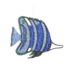 34 cm tropisk fisk, gentle blue m/blå og grøn glitter + simili