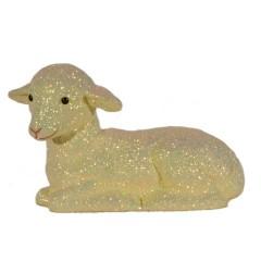 Påskelam, liggende, æggeskal glitter, 16x29 cm, medium