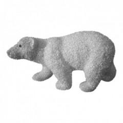 38 cm isbjørn, grovglitter, hvid