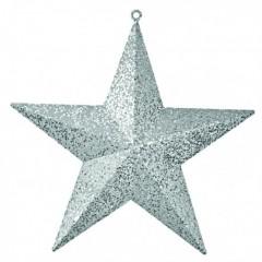 40 cm stjerne, glitter, sølv