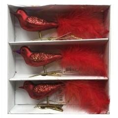 Glasfugl med clip, rød med fjer, 19 cm, sæt a 3 stk