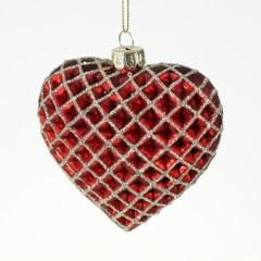 Julehjerte, glasornament, rød med guld glitter, 9 cm