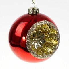 Julekugle med reflektor, i kraftigt glas, blank rød med guld glitter, 8 cm