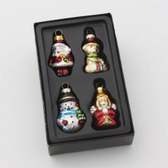 Julefigurer i glas, 5 cm, sæt a 4 stk