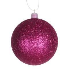 8 cm julekugle, glitter, pink