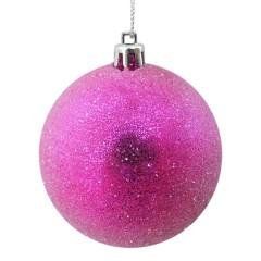 8 cm julekugle, frost, pink