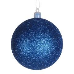 8 cm kugle, glitter, blå