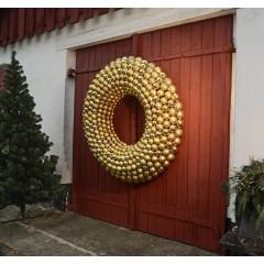 152 cm kugle-krans, guld, mat-blank-glitter