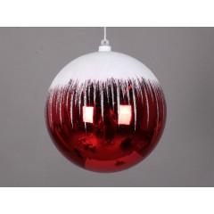 20 cm julekugle, blank, rød m/sne