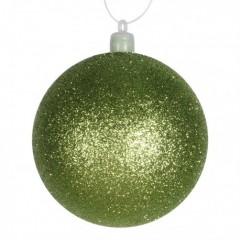 8 cm julekugle, glitter, lime