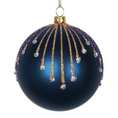 8 cm kugle, mat, dark blue m/stjernskud champagne og sølv glitter