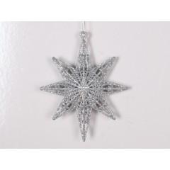 12,5 cm 8-punkt-stjerne, glitter, sølv