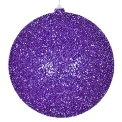 20 cm julekugle, grovglitter, lilla