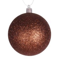 8 cm julekugle, glitter, kobber