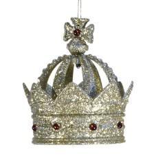 11,5 cm kongekrone, glitter, champagne m/røde perler