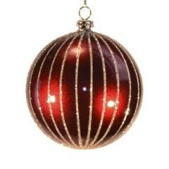 8 cm julekugle, perlemor burgundy m/lodrette striber af champagne glitter