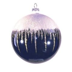 8 cm kugle, blank, dark blue m/sne, hvid og champagne glitter