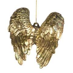 14 cm englevinger, antik guld m/champagne glitter