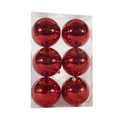 8 cm julekugler blank rød, 6 stk i boks