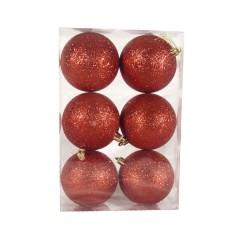8 cm julekugle, 6 stk i boks, glitter rød